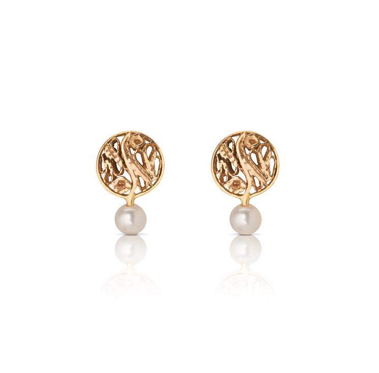 9d70c11e7 14k Gold Circle Pearl Earrings Amandina Filigree Jewelry